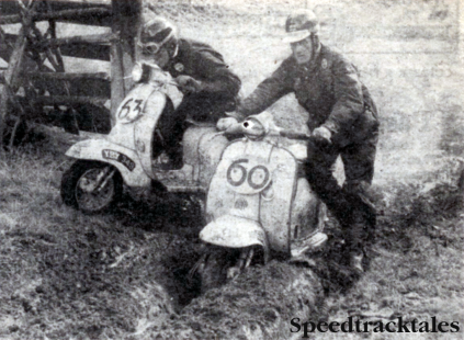 Photo - For them the hardest stint of all - #60 Roy King and #63 Alan Kimber apply the traction which the rear wheels of their Lambrettas can't. ISDT 1960
