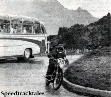 Photo - Heavy tourist traffic didn't really help on tortuous mountain passes: Here #78 Italian Guzzi rider Dall'Ara Franco waas at least lucky to have a clear view around the bend ISDT 1960