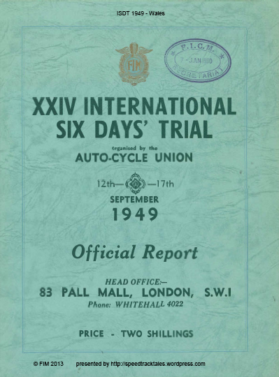 Official Results Cover ISDT 1949