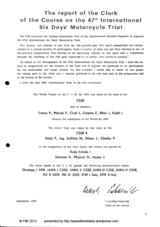 Image of scanned cover page of official results for ISDT 1972