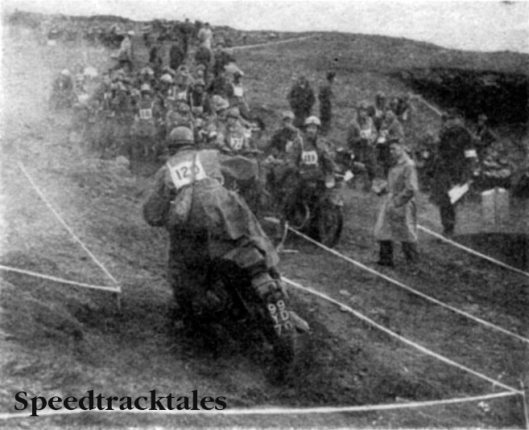 Photo - Army Two Day Motorcycle Trials Championship 1960 - The timed section near the Horseshoe Pass, first in the waiting queue is individual winner W.O II A. Timms (BSA)