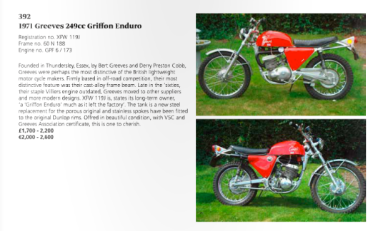 image - catalogue entry of Greeves Enduro 1971