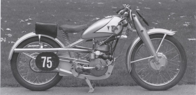 Photo of 246cc DKW ridden by a member of the winning  German Silver Vase team at the 1935 ISDT