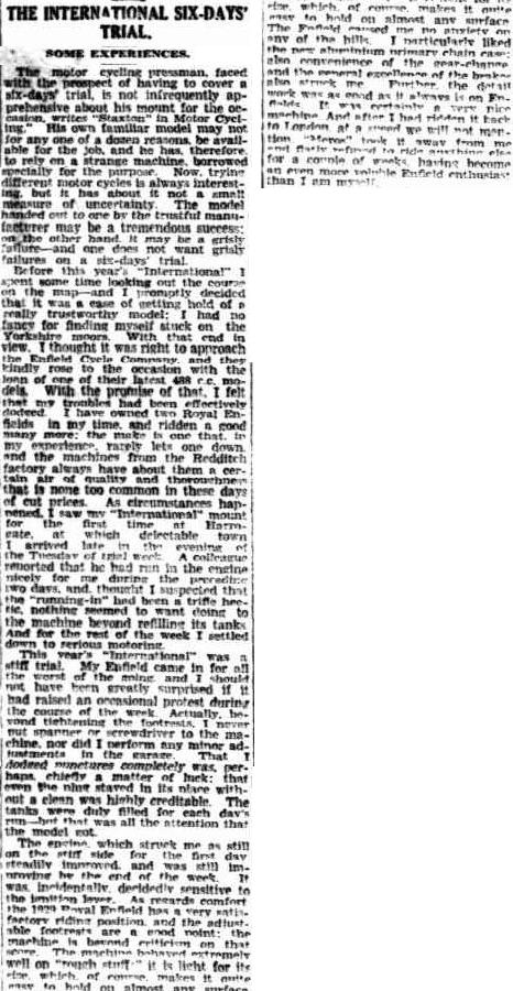 Image - scanned article from Advertiser Adelaide 15 Nov 1928 with review of a press bike ISDT 1928