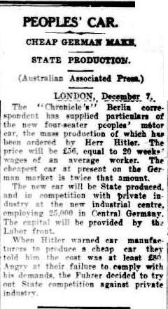 image - scanned article from Cairns Post Queensland on development of KDF Wagen 10 Dec 1937