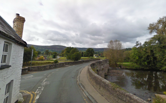 Photo - Medievel bridge over the river Usk at Crickhowell on route Day 1 ISDT 1938 (Google Streetview)
