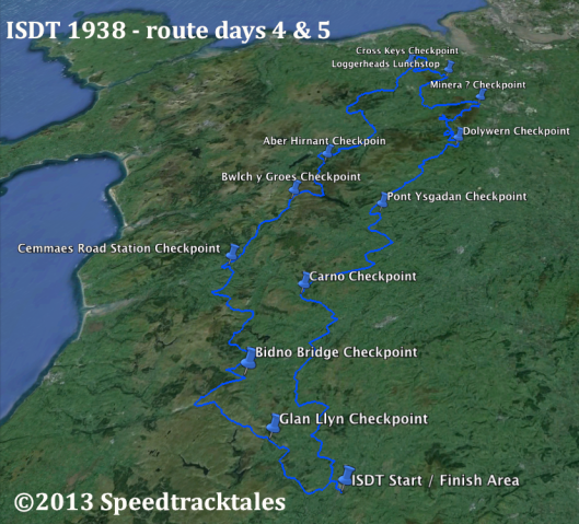 Image of route map for days 4 & 5 of ISDT 1938 (Speedtracktales Collection)