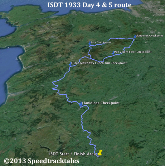 image - route of event with checkpoints days 4 and 5 ISDT 1933