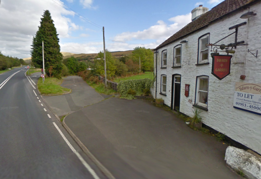 Photo - Tafarn y Garreg ot the Dderi junction on a much improved A4067 on route Day 1 ISDT 1938 (Google Streetview)