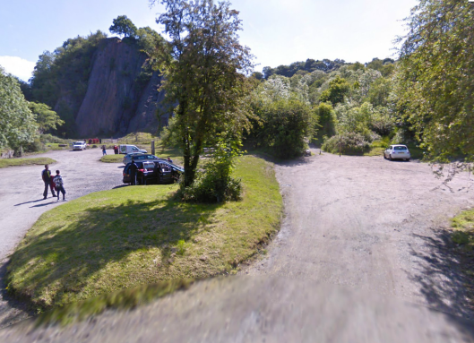 Photo - the old track at Dinas Rock on route Day 1 ISDT 1938 (Google Streetview)