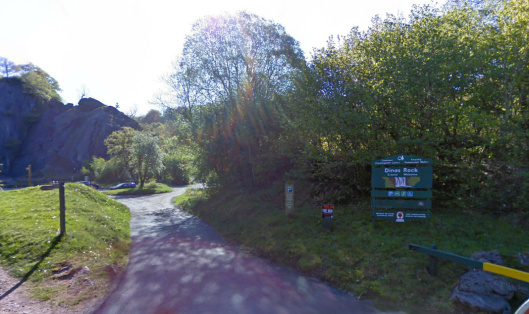 Photo - Visitor Car Park at Dinas Rock on route Day 1 ISDT 1938 (Google Streetview)