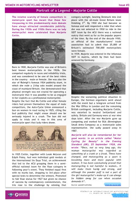 Image - Article in Marjorie Cottle in FIM Women in Motorcycling Magazine