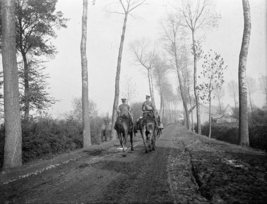Dispatch riders near Ypres in 1915