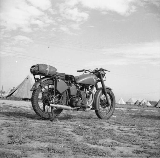 Photo - Matchless 350cc motorcycle as used by the 1st Airborne Division, 29 August 1942. (Image courtesy Imperial War Museum)