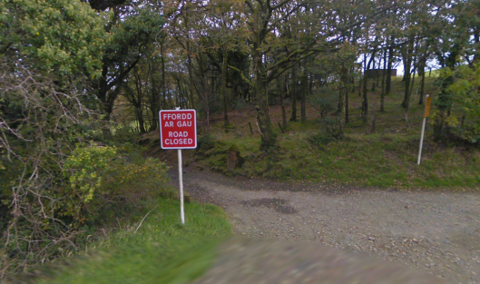 Photo - Bad news announcement approaching track leading to Pentre Bach on route Day 1 ISDT 1938 (Google Streetview)