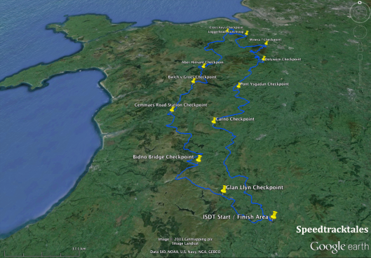 Image - The route of Days 4 & 5 of the ISDT 1938 as mapped with Google Earth (Speedtracktales archive)