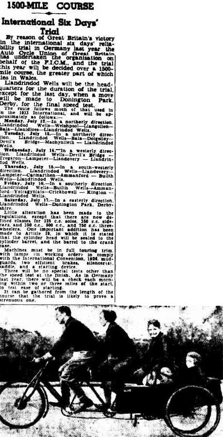 image - scanned from the Courier - Mail, from Brisbane Queensland Australia 10th May 1937 ISDT 1937