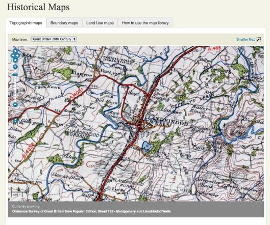 "image - c 1940 Ordnance Survey 1"" Sheet 128 Montgomery & Llandrindod Wells"