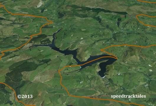 image - Google Earth ™ image of the Clywedog Reservoir near Staylittle / Llanidloes and the route of the ISDT 1954