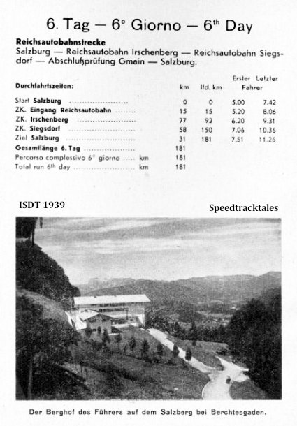 image - Checkpoint times and distances for Day 6 ISDT 1939 (speedtracktales archive)