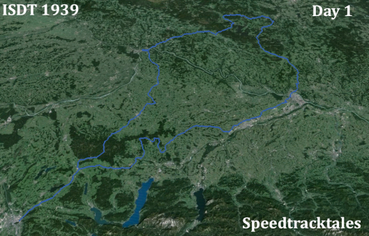 Image - ISDT 1939 Day 1 - with Landsat imagery (Speedtracktales / Google)