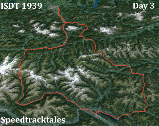 Image - ISDT 1939 Day 3 - with Landsat imagery (Speedtracktales / Google)
