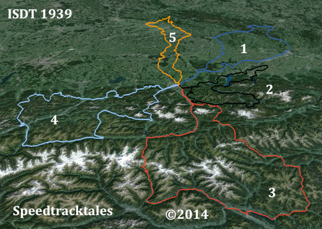 Image - routes of days 1 - 5 ISDT 1939 set out on LANDSAT colour image (Google Earth / Speedtracktales)