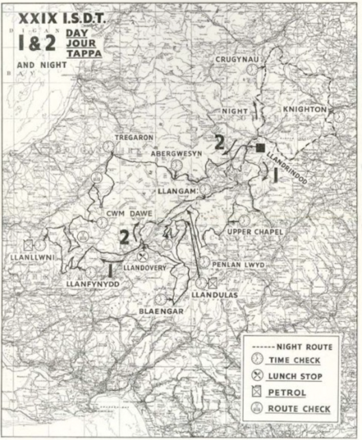 image - scanned map of days 1 & 2 ISDT 1954 (lo-res programme)