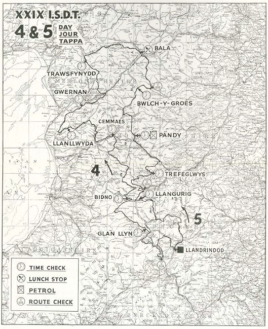 image - scanned map of days 4 & 5 ISDT 1954 (lo-res programme)
