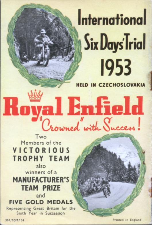 image - Royal Enfield booklet rear cover (Speedtracktales Collection)