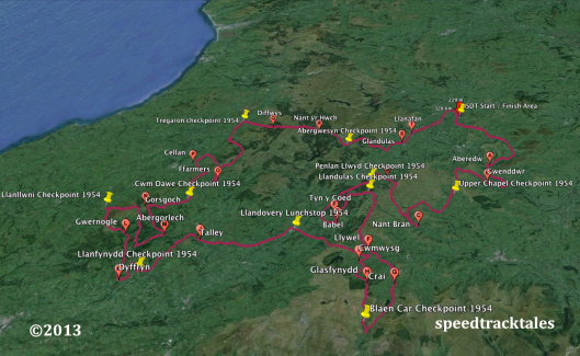 Image - Google Earth ™  route map for day 1 of ISDT 1954 (Speedtracktales Collection)
