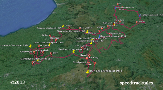 Image - Google Earth ™  route map for day 2, including Night Stage of ISDT 1954 (Speedtracktales Collection)
