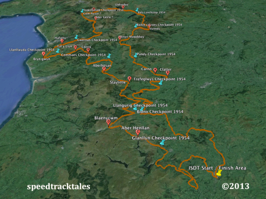 Image - Google Earth ™  route map for day 4 & 5 ISDT 1954 (Speedtracktales Collection)