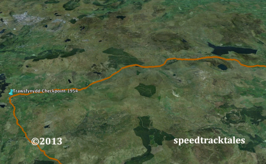 image - Google Earth ™ image of Cwm Prysor, Trawsfynydd and the route of the ISDT 1954