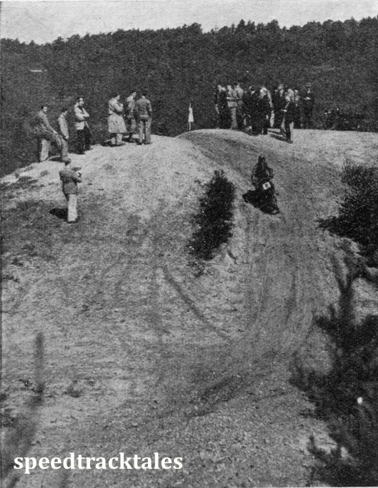image - R MacGregor (Rudge) drops down the hill after Killimanjaro in the cross-country tests 1939