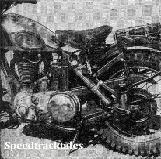 image - The only sprlng-framed machine in the tests was Len Heath's Ariel. It has many Interesting features, including an oil feed to the cylinder barrel (speedtracktales collection)