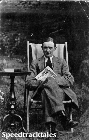 Photo - Maurice Greenwood - seated reading a copy of 'the Motor Cycle' and taken at home 1912 in Todmorden (Courtesy of the Greenwood Family Collection)