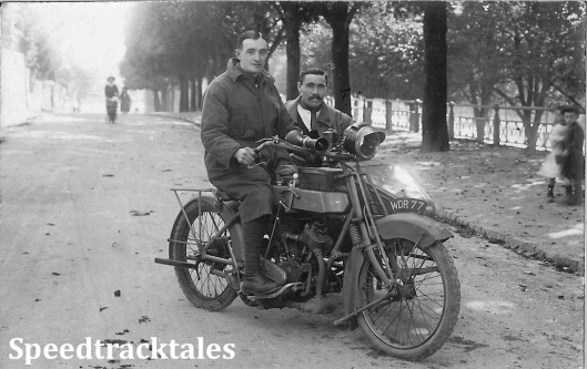 Photo - Maurice Greenwood in Rouen, possibly 1916 with a Clyro Sidecar for Machine Gun [WDR77] (Courtesy of the Greenwood Family Collection)