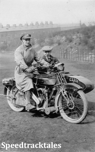 Photo - Maurice Greenwood possibly 1916 sat on his motorcycle [C3306] whilst on leave in Todmorden (Courtesy of the Greenwood Family Collection)