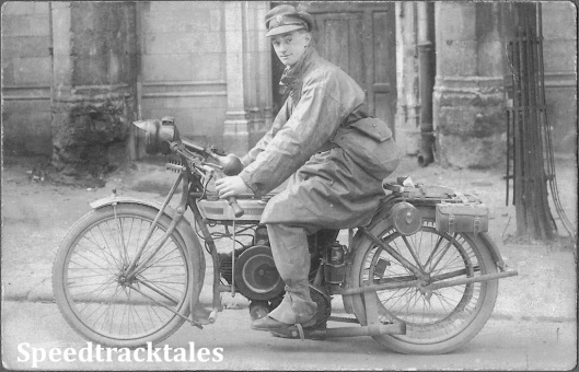 Photo - Maurice Greenwood 1916 working as a dispatch rider in the Somme area of Flanders (Courtesy of the Greenwood Family Collection)