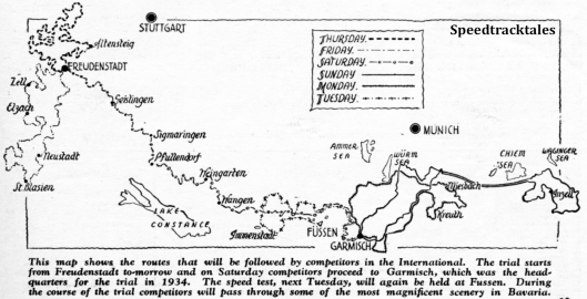 Image - map from 'Motor Cycling' showing all 6 day routes for ISDT 1936