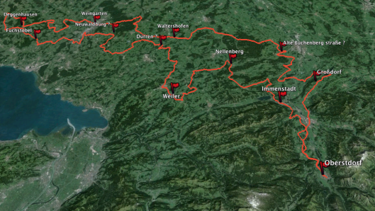 Image - map of Day 1 route ISDT 1935 (Speedtracktales / Google Earth)