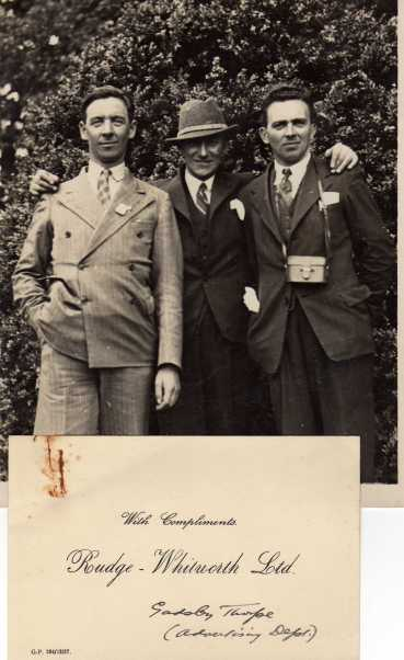 Photo - Jack Leslie Bob MacGregor Jimmy Edwards, at Lilleshall Sports Centre 17 July ISDT 1938 (Courtesy Ian & Stuart Leslie Collection)