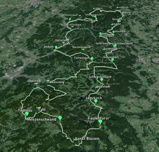 Image - map of Day 2 route ISDT 1936 (Speedtracktales / Google Earth)
