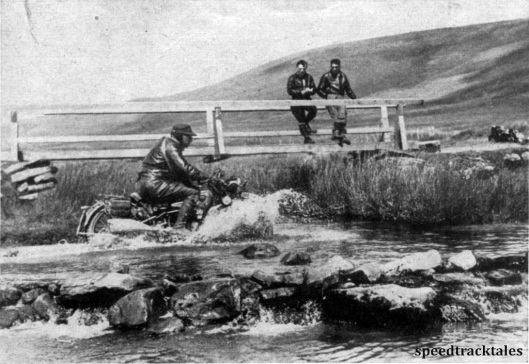 Photo - One of the German NSU entries crosses a river on the Tregaron - Abergwesyn Road ISDT 1937 (Speedtracktales Collection)