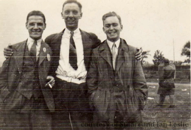 Photo – Robert (Bob) MacGregor, Jack Leslie and A C Stewart ISDT 1935 (Courtesy Stuart and Ian Leslie Collection)