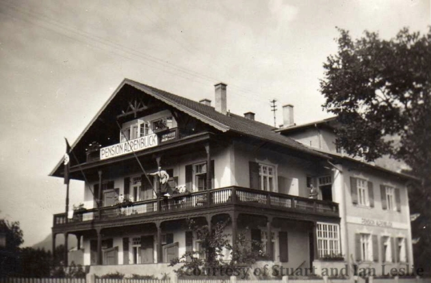 Photo - Pension Alpenblick complete with national flag.  ISDT 1934 (Courtesy Stuart and Ian Leslie Collection)