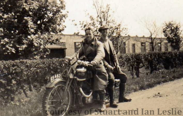 Photo – Jack Leslie rides pillion with A D Stewart [GS 4821] ISDT 1935 (Courtesy Stuart and Ian Leslie Collection)
