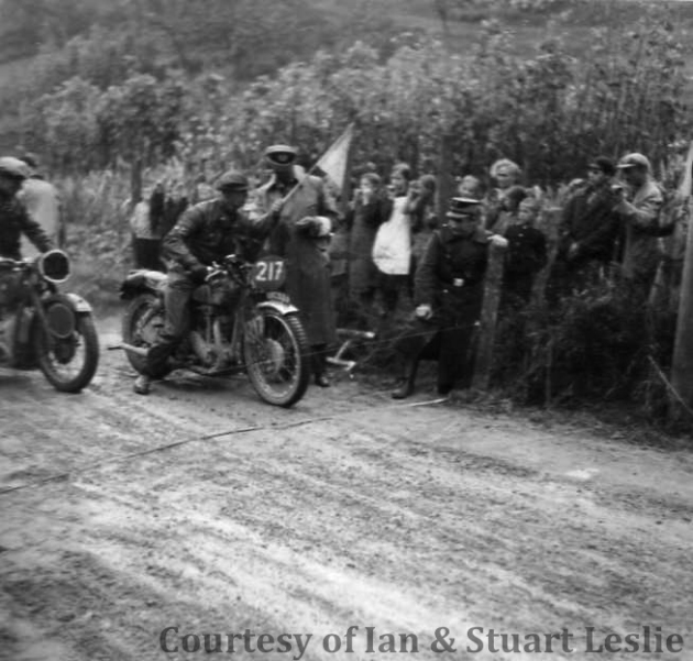 Photo - #217 Jack Leslie on Rudge keeps a close eye on the clock  ISDT 1936 (Courtesy Stuart and Ian Leslie Collection)