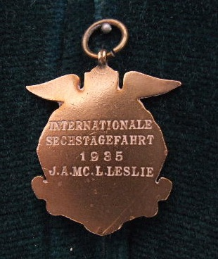 Photo - Jack Leslie's Bronze Medal -rear ISDT 1935 (Courtesy Stuart and Ian Leslie Collection)